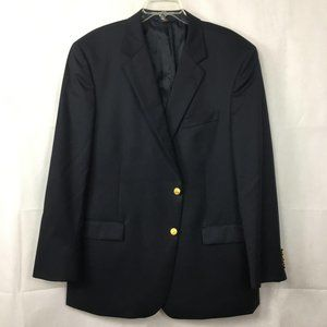 Brooks Brothers Madison Navy Blue Logo Blazer 48L